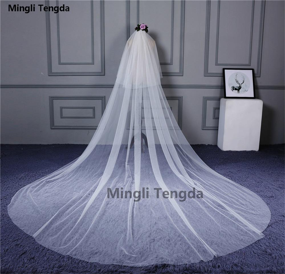 Mingli Tengda 3m * 3m dos capas velo de novia largo suave marfil blanco velos nupciales para catedral con peine accesorios de boda 2018