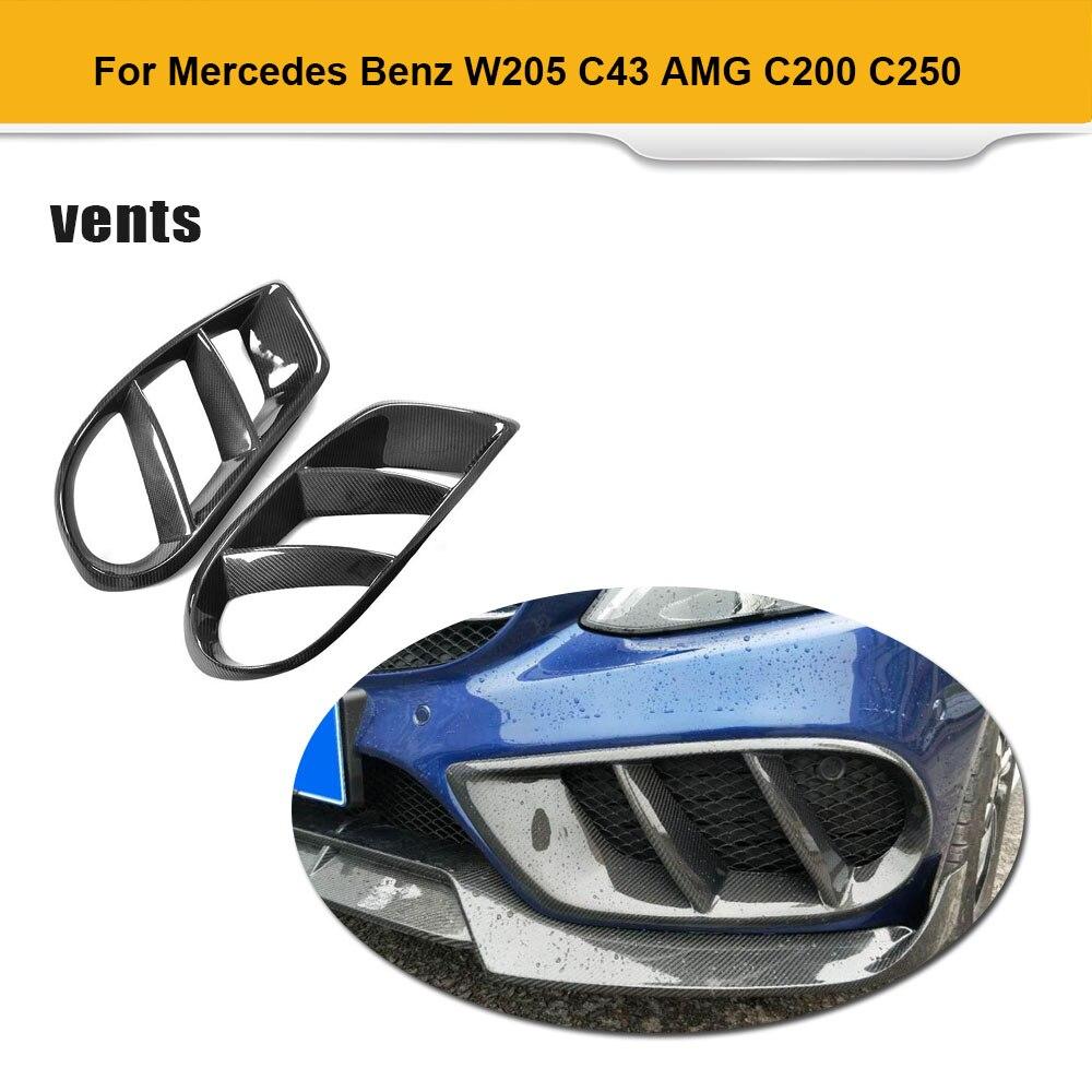 For W205 C43 AMG C Class Standard Carbon Fiber Front Bumper Air Vent Cover Trim Grill Frame for Mercedes Benz C200 2015 - 2019