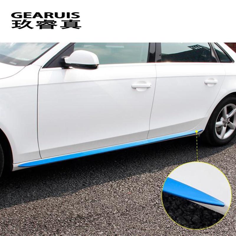 Автомобильный Стайлинг, автомобильная боковая юбка, наклейка из нержавеющей стали, боковая дверь, Декоративные Чехлы для Audi A4 B8, автомобиль...