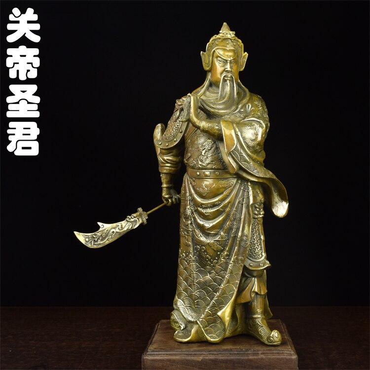 Guan de cobre como grandes latón antiguo estatua de bronce de estilo antiguo de Fortuna Wu Guan florero Decoración