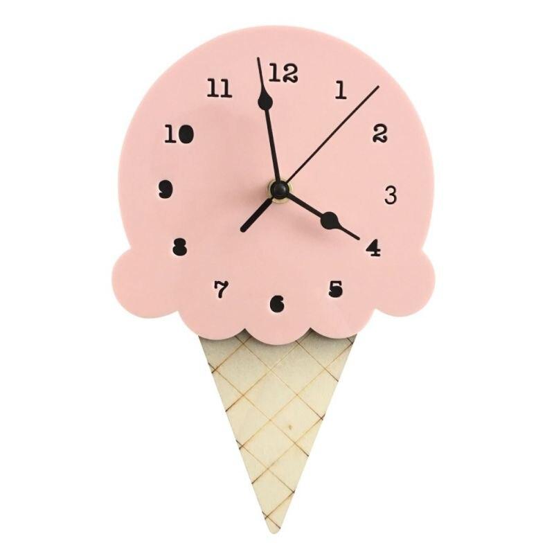 Duvar saati Sessiz Sigara Geçiyor Dondurma Şekilli Dekoratif Ahşap Saatler Modern Tasarım Akülü duvar saati