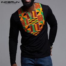 2021แฟชั่นแอฟริกันเสื้อผ้าผู้ชายTเสื้อแขนยาวสไตล์ชาติพันธุ์Vคอเสื้อแอฟริกันDashikiเสื้อยืดHombre ...