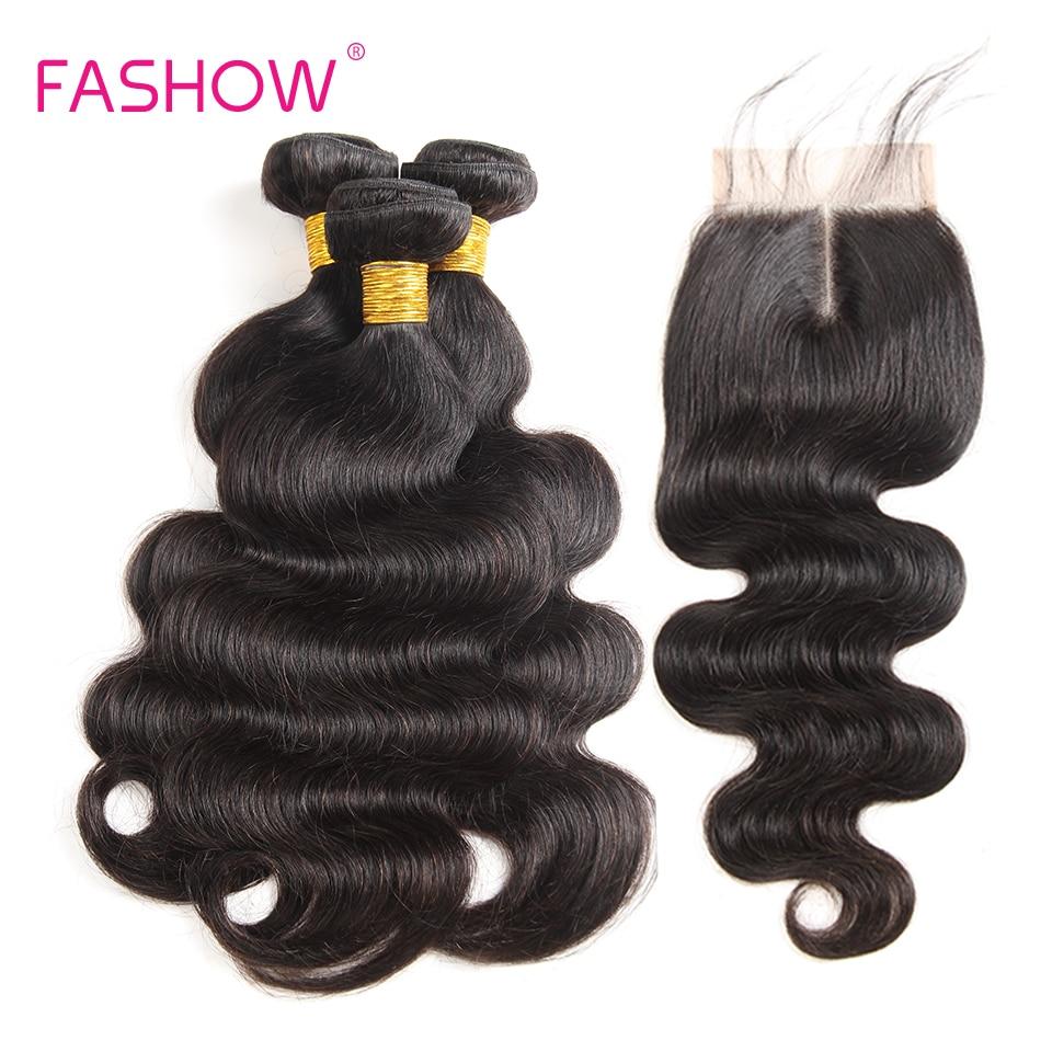 Mechones de pelo de moda con cierre cabello indio onda del cuerpo 3 mechones con cierre de encaje 100% extensiones de tejido de cabello humano 8-28 pulgadas  En venta