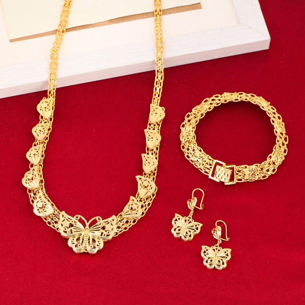 Conjuntos de joyería de boda etíope 24K Color dorado mariposa pendiente pulsera collar conjuntos para joyería de boda