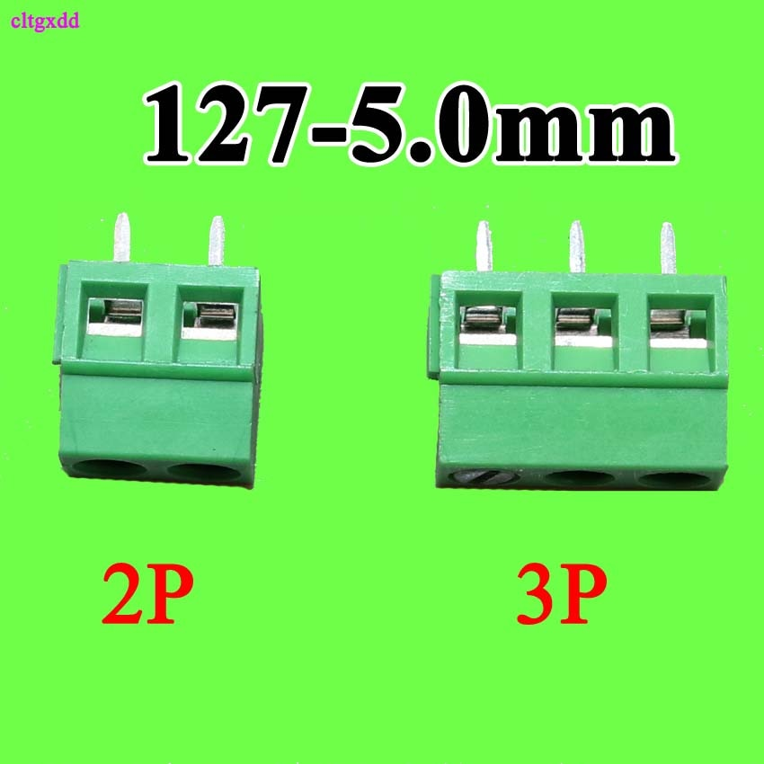 Cltgxdd 10 piezas 2 Pin KF127 bloque de terminales de tornillo conector, mm, paso de 5mm, 300 V 10A KF-127-5.0mm 2 p 3 P