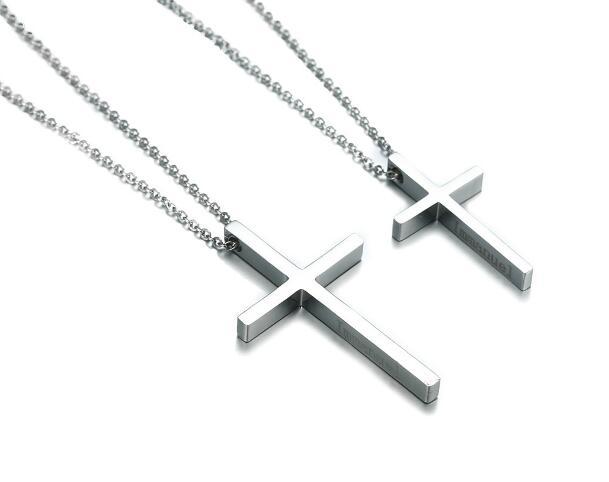 Gnayy jóias um par de casal de aço inoxidável cruz colar pingente para mulher masculino