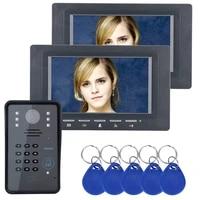 7 two monitors rfid password video door phone intercom doorbell ir cut camera 1000 tv line access control system