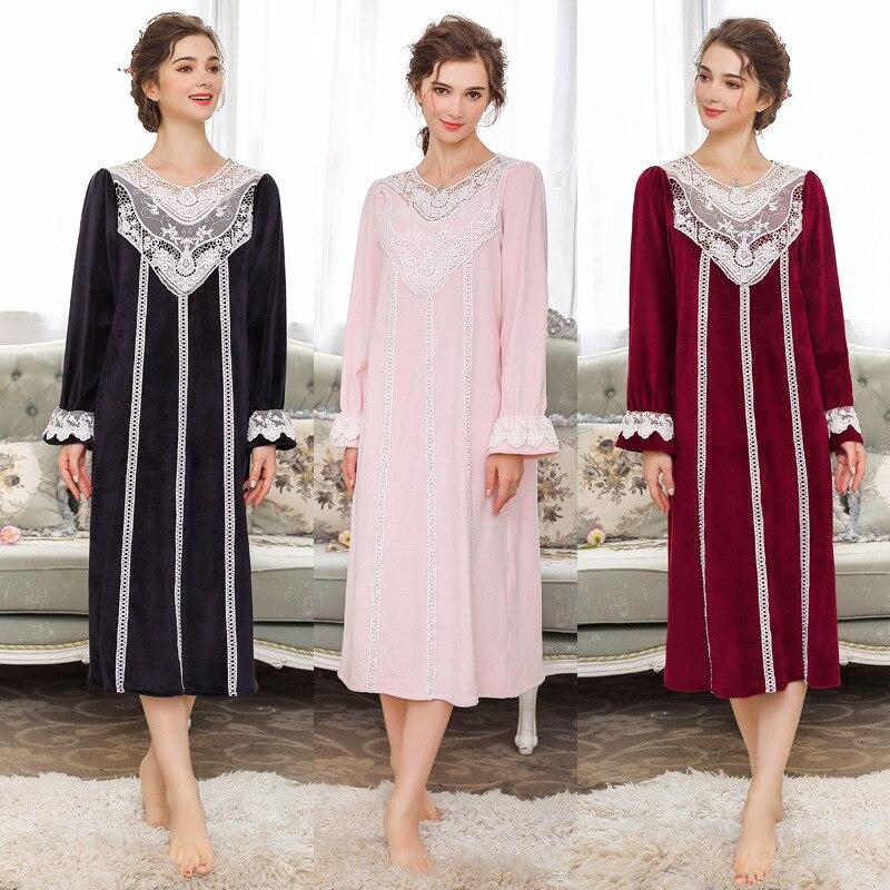 Camisón de terciopelo de agua caliente real Vintage para mujer de invierno de alta calidad princesa dulce vestido completo ropa de dormir Vesitdos 063