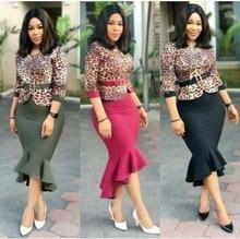 Leopard print New style African Women clothing Dashiki fashion Print cloth With a belt dress size M  L XL XXL XXXL   YQ1204