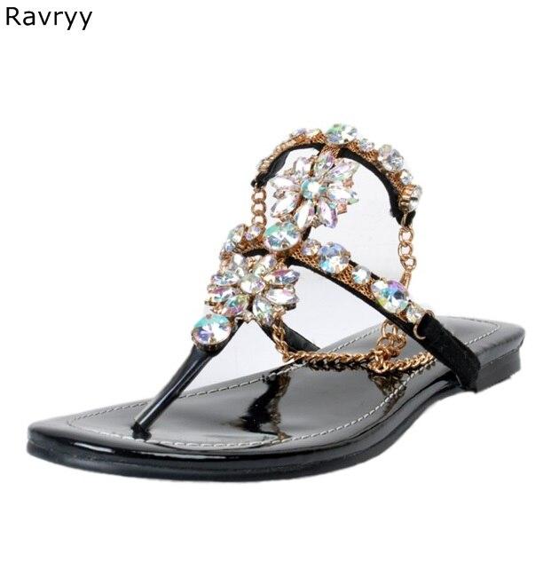 Sandalias Flipflop negras a la moda de verano del 2019 para mujer, decoración ostentosa con diamantes de imitación, zapatos de tacón plano con correa para el tobillo para mujer, zapatos de fiesta