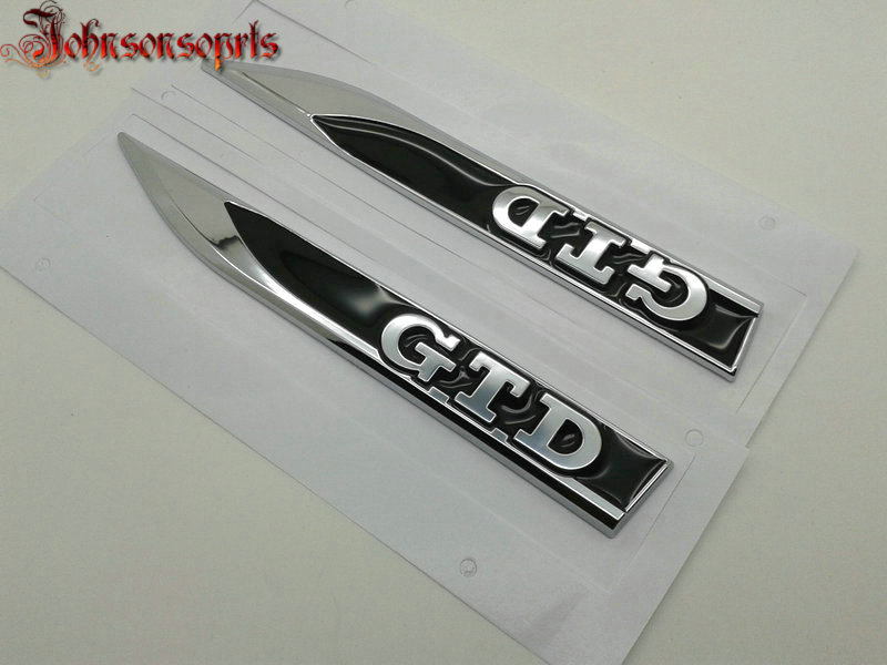 1 par = 2 uds OEM ABS GTD lado del ala del coche placa del guardabarros emblema derecha e izquierda pegatinas de coche para MK7 7 con etiqueta OEM estilo de coche