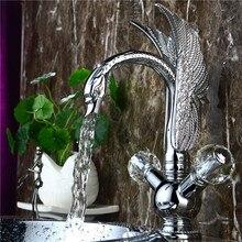 Bouton chromé monotrou Double cristal salle de bains   Livraison gratuite, lavabo cygne robinet mitigeur