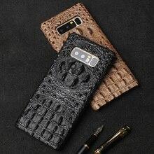 Coque téléphone Crocodile crâne pour Samsung note 10 A70 haut de gamme Anti-chute étui de protection en cuir pour Samsung S10 plus S9 S8 A9 J7