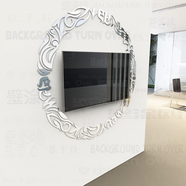 Estilo Europeo clásico círculo marco reflexivo de TELEVISIÓN de fondo pegatinas de pared de techo sala de estar decoración R074