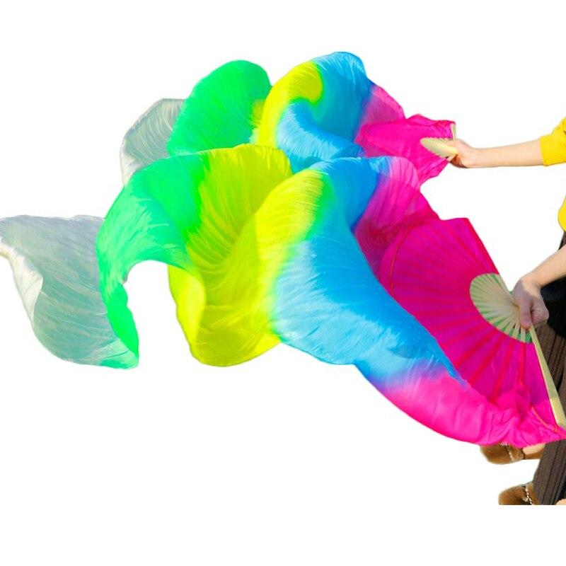 Высокая продажа 100% натуральный шелк вуаль ручной работы женский шелк танец живота вентиляторы аксессуары для танцев оптовая продажа разме...