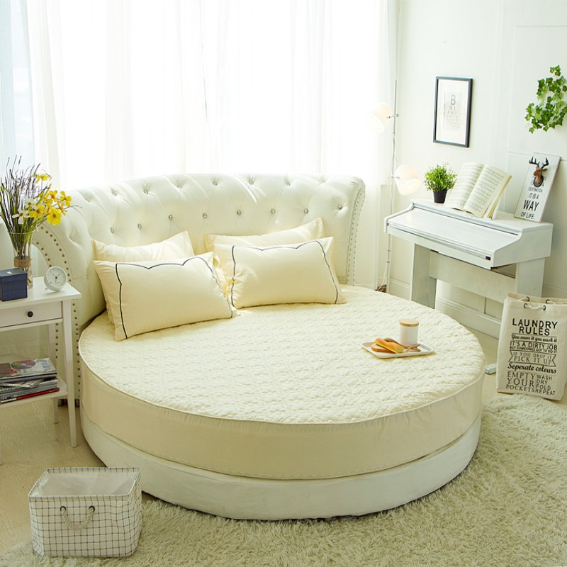 جولة واقي مراتب مبطن 100% القطن شرشف رومانسية جولة غطاء سرير موضوع فندق الزفاف الفراش