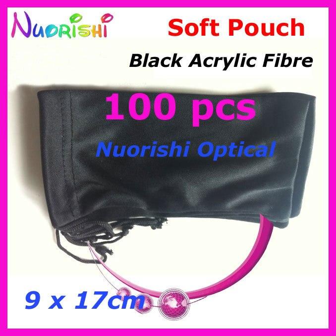 100 قطعة نظارات شمسية من ألياف الأكريليك الأسود ، نظارات شمسية ، حقيبة قماش ناعمة ، حقيبة واقية CP040 ، شحن مجاني