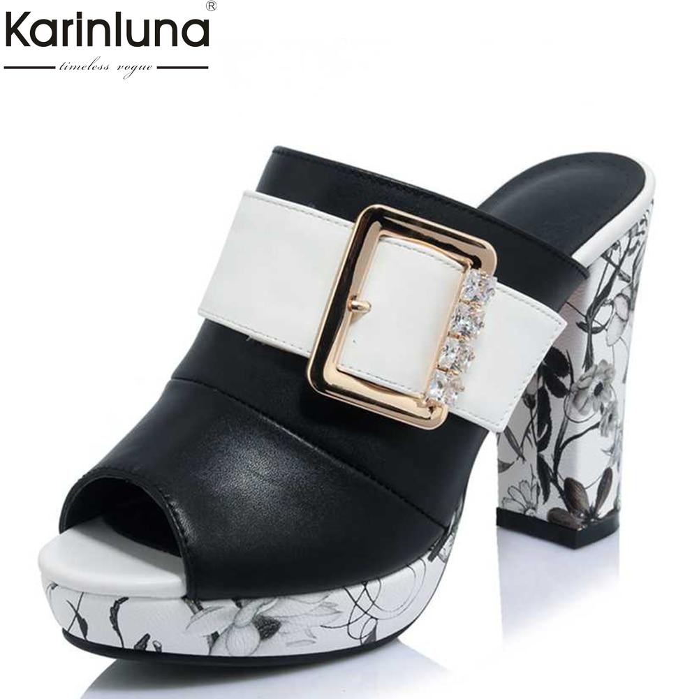 Big Size 32-42 Fashion Women Mules Shoes Flower Print High Heels Summer Shoes woman Party Wedding peep Toe Platform Sandals