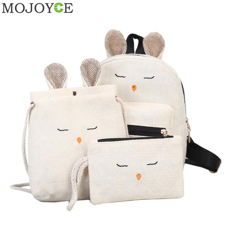 3 unids/set de Mochila de lino y conejo con orejas, Mochila Kawaii para mujer, mochilas suaves para adolescentes, Mochila para mujer
