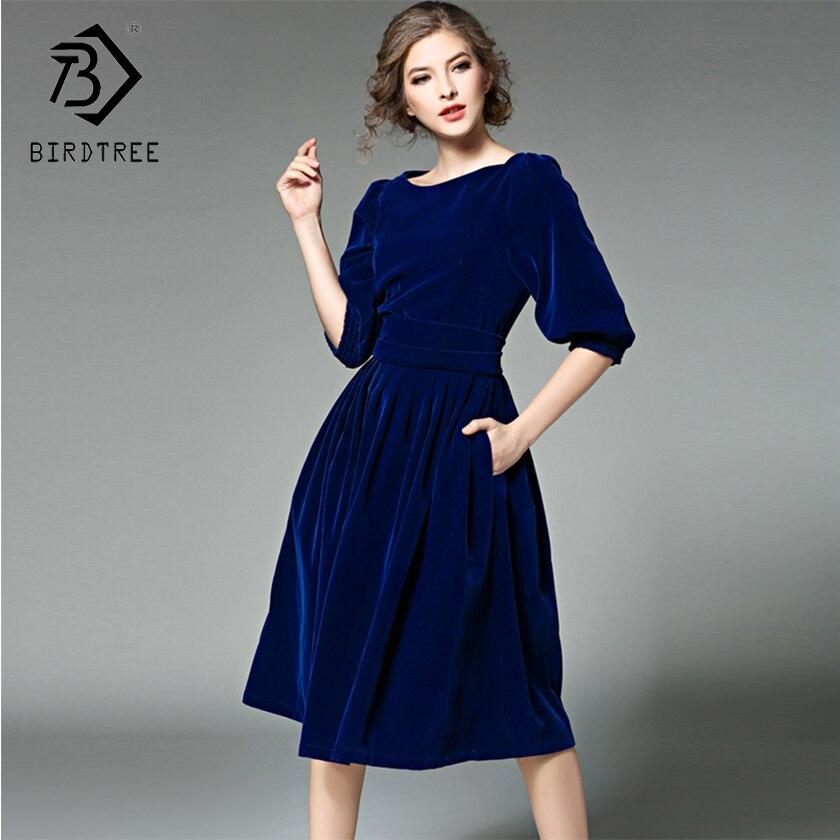 2018 inverno nova chegada vestidos femininos slash collar moda sólida mid elegance império manga completa magro roupas quentes d88219l