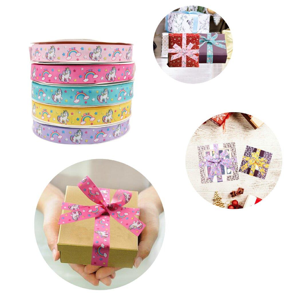 Hot 1yard 2.5cm Unicorn Cartoon Ribbon DIY Gift Packaging Grosgrain Birthday Box Printed