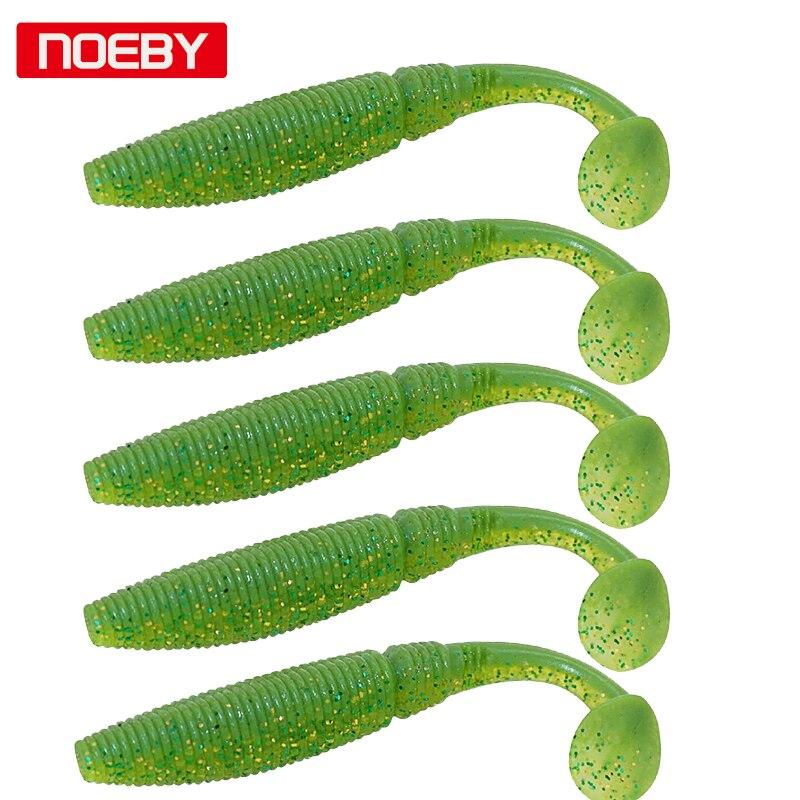 Noeby, 5 uds., 10 cm, señuelo blando con cola de remo, cebos de pesca, señuelo Artificial de silicona, aparejo de pesca