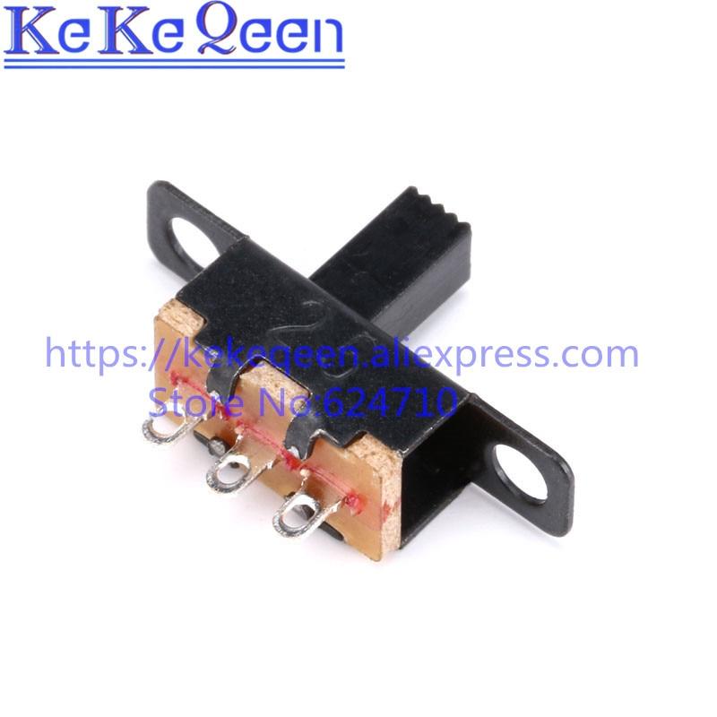 10 Pçs/lote SS12F15G6 SS12F15VG6 1 Mini Slide Switch SS12F15 Interruptor 1P2T SMD PCB DPDT Interruptor Verticais Lidar Com alta de 6mm