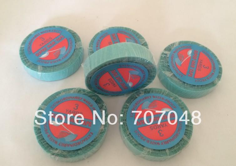 Venta al por mayor cinta de pelo de alta calidad de color azul doble cinta para trama de pelo de piel/trama de pelo de pu 0,8 cm x 3 yardas
