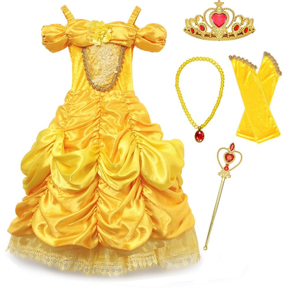 Disfraz de lujo de La Bella y La Bestia princesa Bella para Halloween, modelo de niña, vestido de fotografía, ropa de fiesta de verano para chico Cosplay