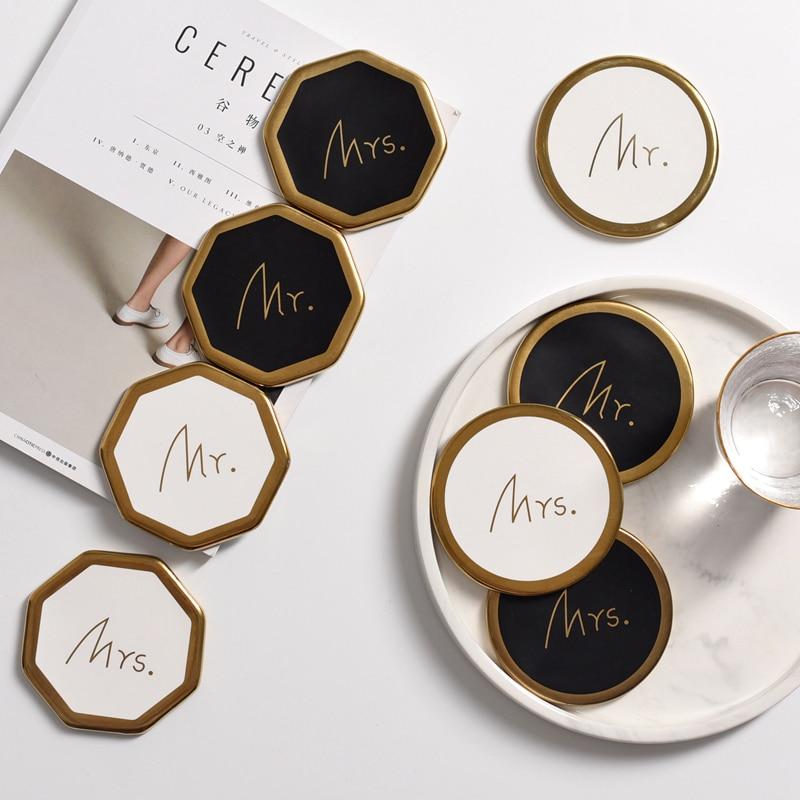 1 PC mantel de mesa para taza de café, posavasos de cerámica, posavasos de corcho, estera moderna, Simple, de oro, decoración de escritorio