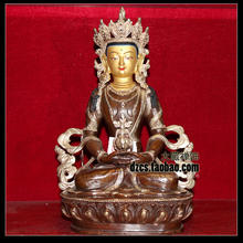 Bouddhisme fournitures bouddhisme authentique   bronze, argent, cuivre 1 pied long bouddha tibétain amitayus bouddha amitayus