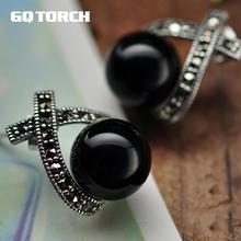 925 brincos de prata esterlina para mulher incrustada onyx preto contas redondas vintage marcasite cruz design jóias finas