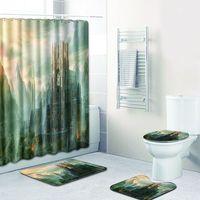 4 Pcs/Set City Scenic Shower Curtain Bath Rug Set Toilet Cover Bath Mat Set Bathroom Accessories Curtains with Hooks