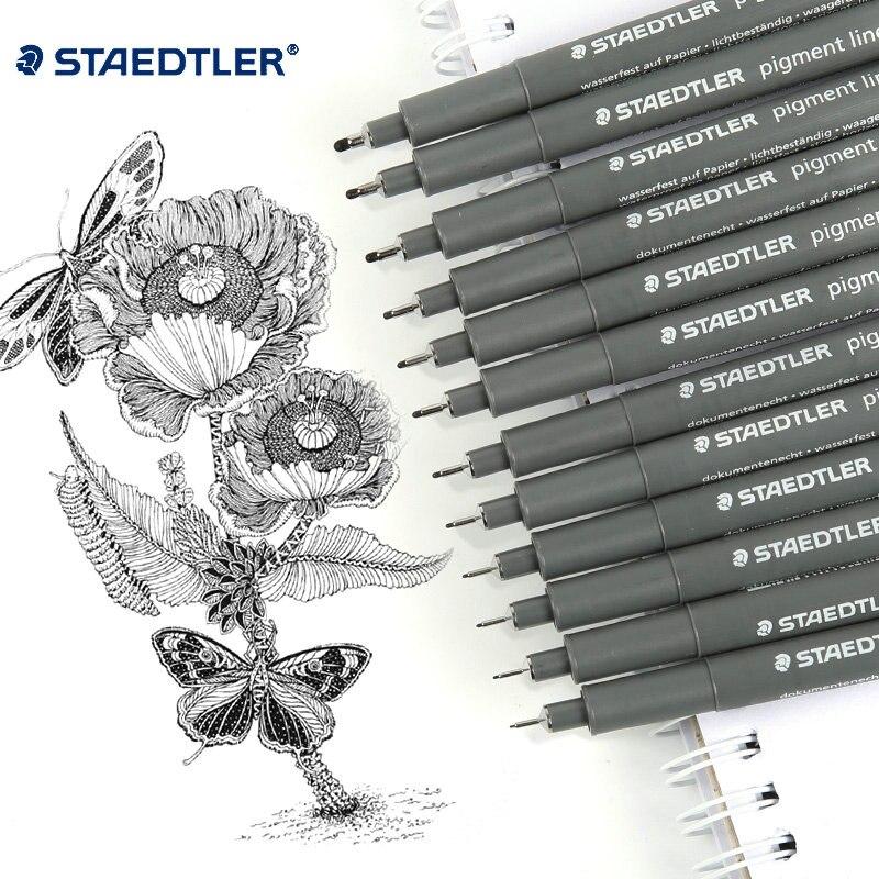 Paquete de 8 /12 bolígrafos de Gel delineador Staedtler de Color negro, 12 tamaños, dibujo de bocetos de Arte de oficina y escuela