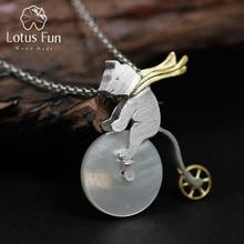 Lotus Fun réel 925 en argent Sterling à la main Design bijoux fins mignon vélo équitation ours pendentif sans collier pour les femmes