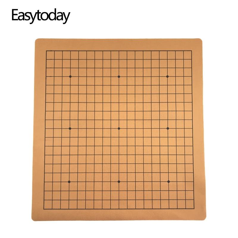 Шахматная доска Easytoday Weiqi, китайская игровая шахматная доска из искусственной кожи и замши, 19 линий, международный стандарт