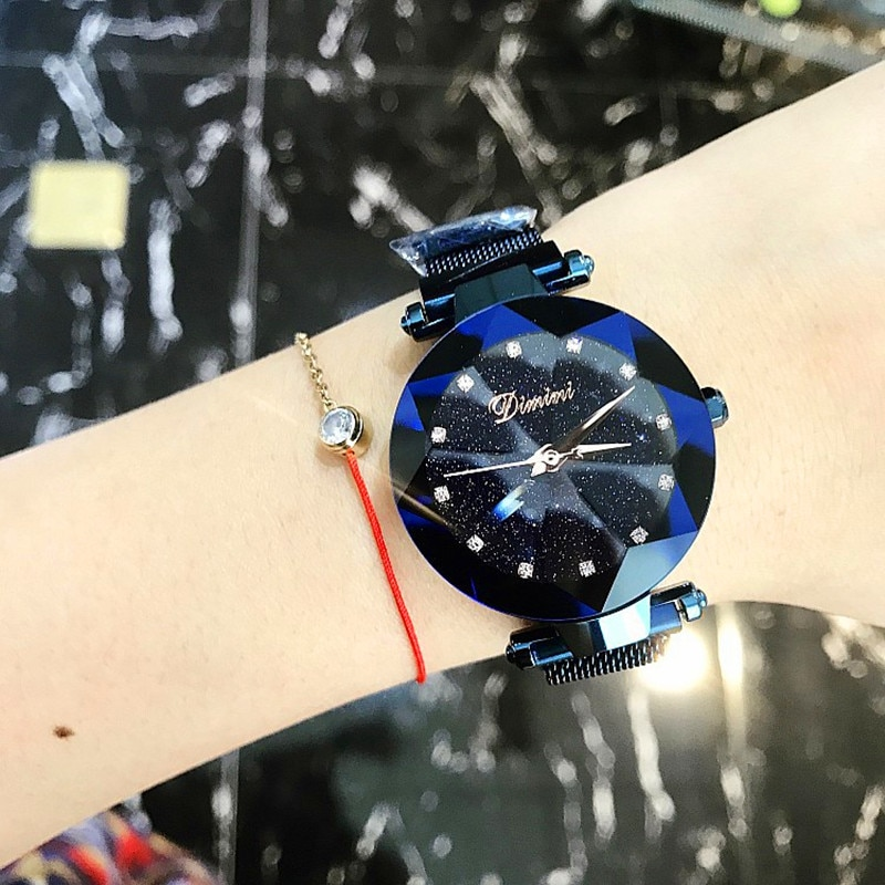 Top Brand Women Watch Fashion Women Creative Luxury Starry Quartz Watches Simple Magnet Stone Strap Clock horloges vrouwen enlarge