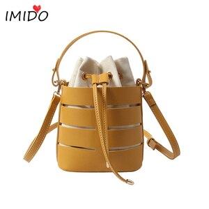 hollow out bucket bag PU leather handbags canvas drawstring bag ladies shoulder bags high quality luxury brand messenger bag