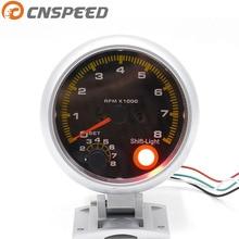 "CNSPEED 3 3/4"" Car 80mm Carbon Fibre Tachometer Rpm Gauge Meter With Yellow Shift Lights Car 80mm tachometer YC100145-CN"