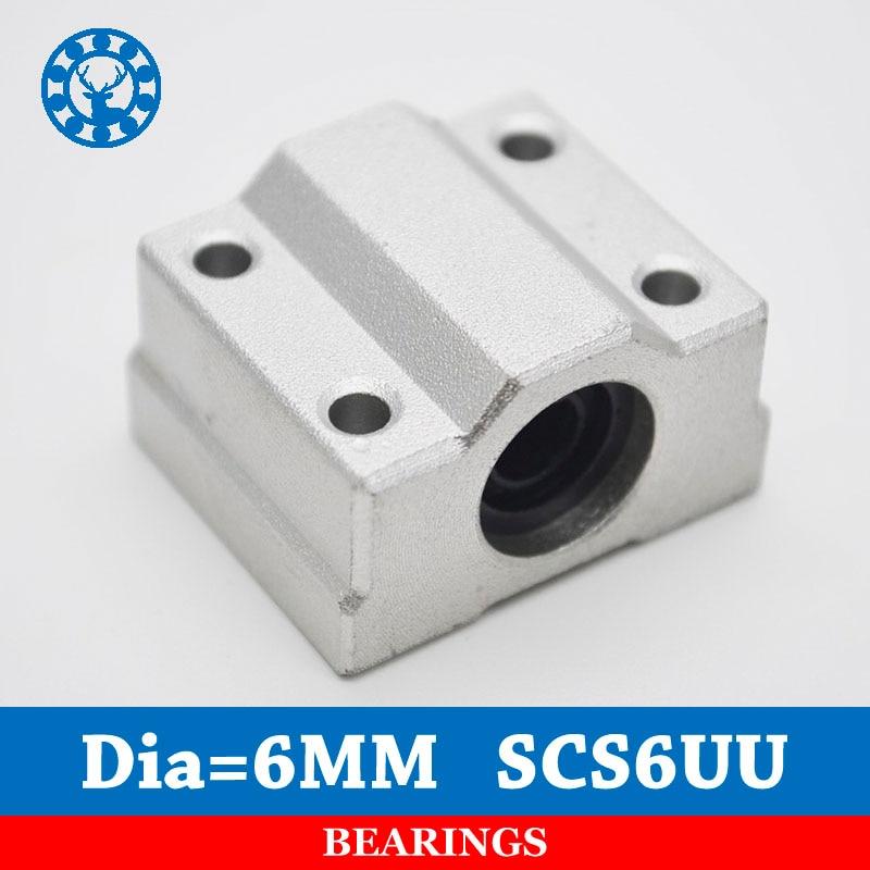 4 pçs/lote SC6UU SCS6UU 6mm rolamento de esferas linear unidade de slides 6mm bloco rolamento linear