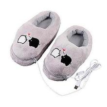 1 para USB zasilane poduszki buty elektryczne ciepła Slipper USB gadżet śliczne szare Piggy pluszowe buty ocieplające stopy USB