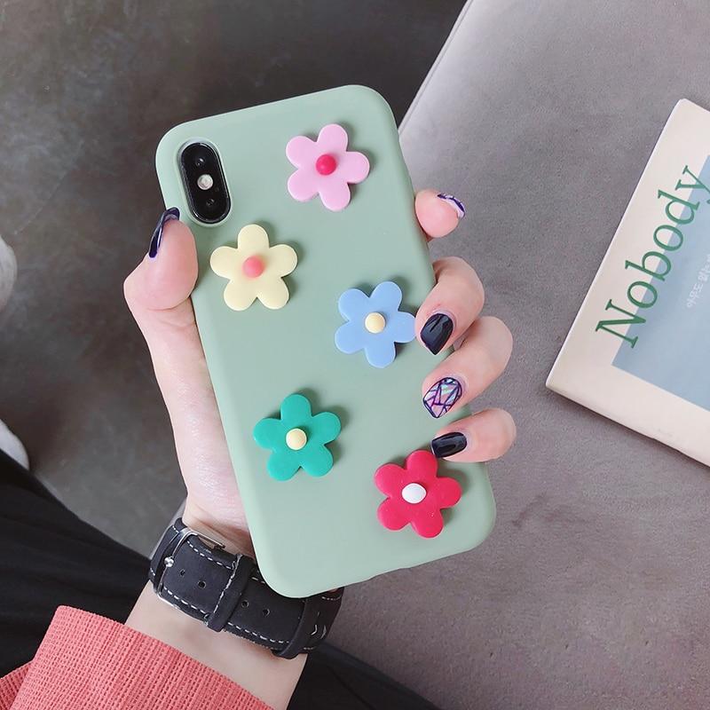 matte 3d candy color flower case for Huawei p30 p20 lite pro p8 p9 p10 p smart plus 2017 2018 2019 silicone back cover fundas