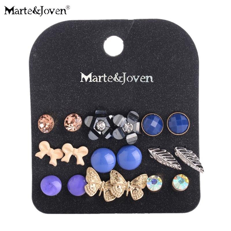 ¡Venta al por mayor! pendientes de mariposa de oro Marte & Joven, pendientes de broche acrílico azules, pendientes de hojas de plata Vintage, juegos de pendientes de flores para mujer