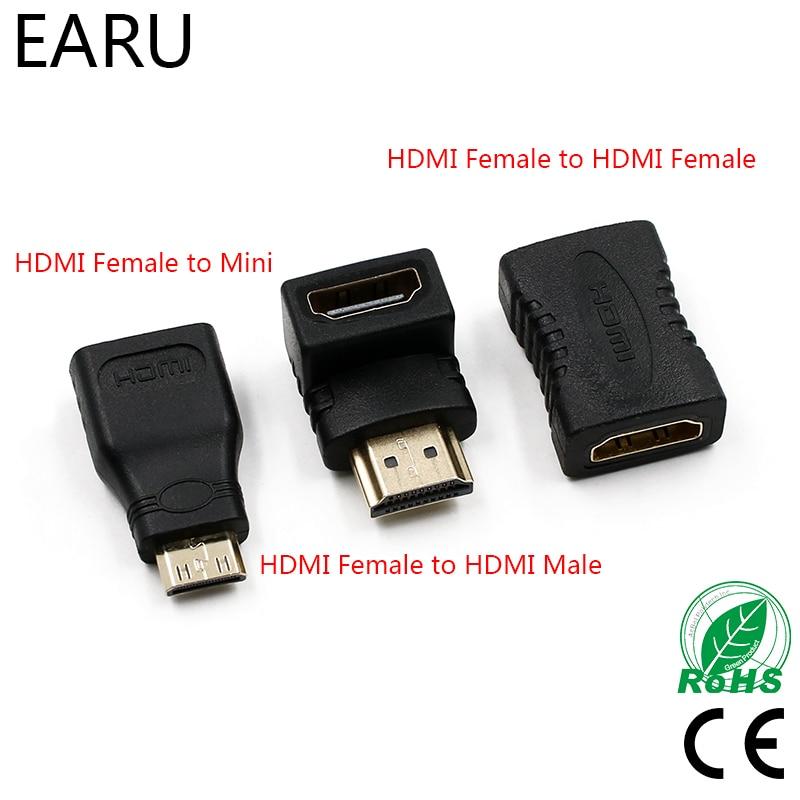 Conector HDMI Macho para HDMI Fêmea Adaptador Conversor 4 k Extensor 90 Graus de Ângulo Direito para 1080 p HDTV PC adaptador Mini HDMI
