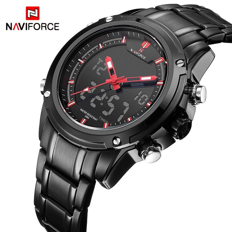 Часы NAVIFORCE мужские, спортивные, армейские, армейские, кварцевые, аналоговые, светодиодные, водонепроницаемые