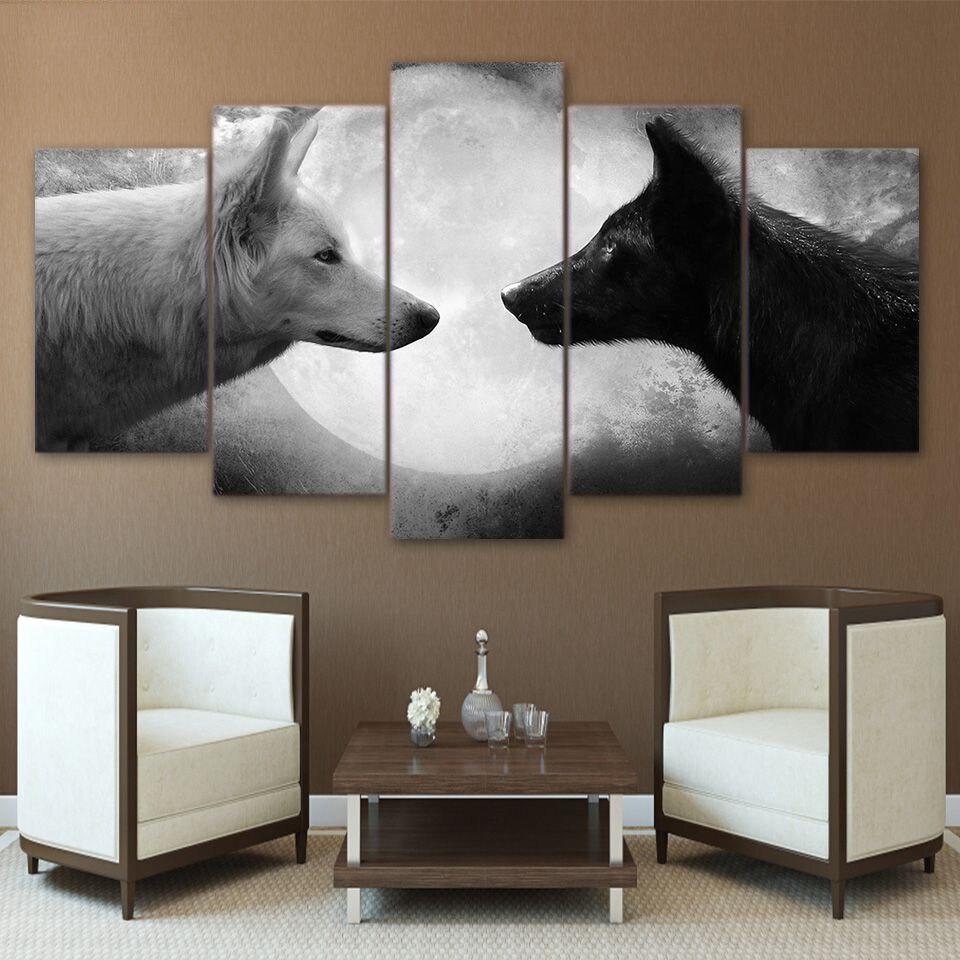 Marco HD decoración del hogar diseño Modular impreso 5 paneles animales lobos lienzo moderno cuadros de salón pintura pared carteles