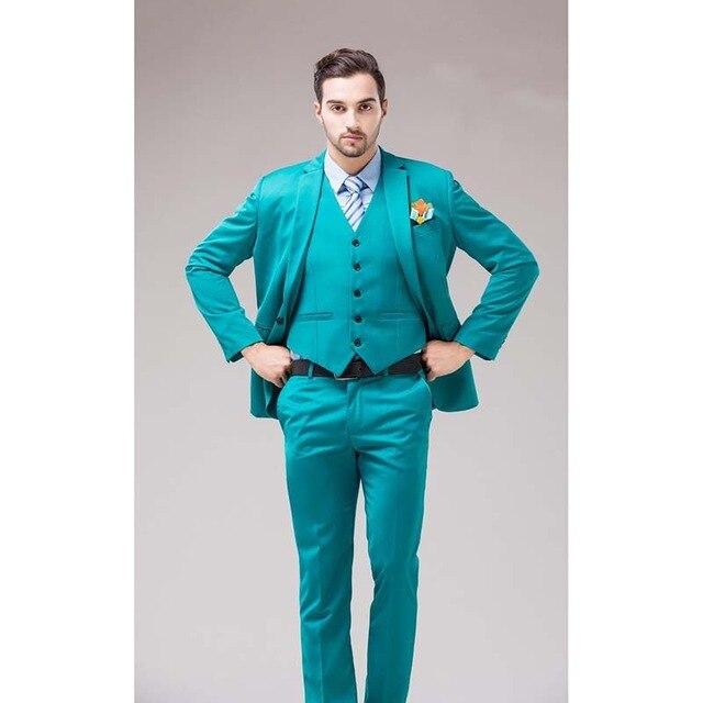 Personalizado verde azul novio esmoquin reverso Cran hombres trajes turquesa novio boda cena mejores trajes de hombre (chaqueta + Pantalones + chaleco + corbata)