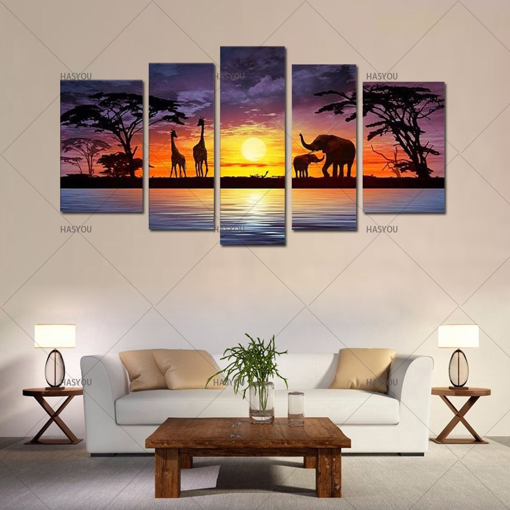 Pintado a mano grande 5 piezas arte de la pared elefante África pinturas al óleo África paisaje para vestíbulo hogar Oficina Decoración de la pared
