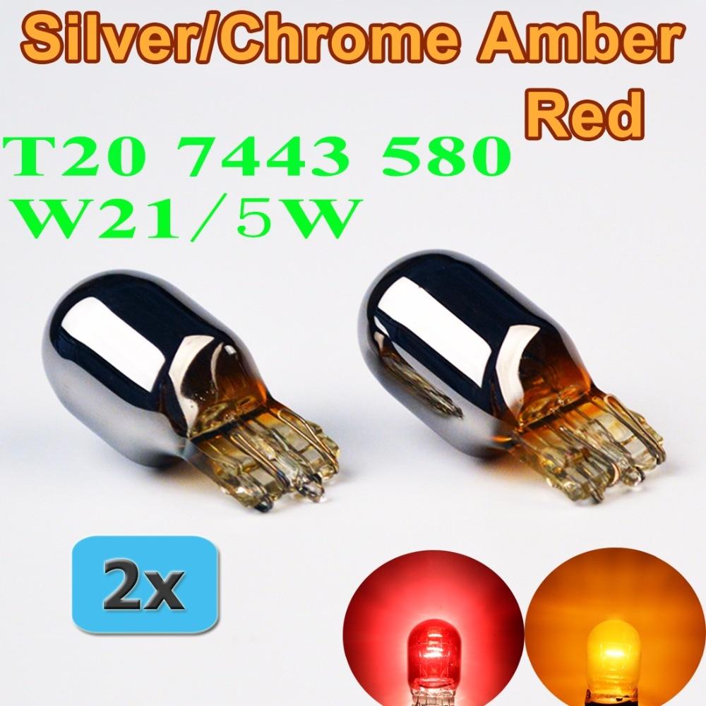 Flytop (2 unids/lote) W21/5W T20 580 plateado/cromado ámbar rojo Luz de cristal 7443 12V 21/5W bombilla W3x16q lámpara de coche
