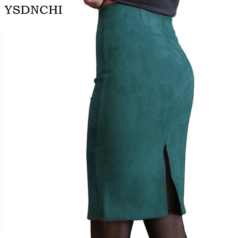 YSDNCHI New Women Skirts Summer Plus Size Knee-Length Pencil Skirt Female Vintage Suede Split Skirts Fashion Femme Faldas Mujer